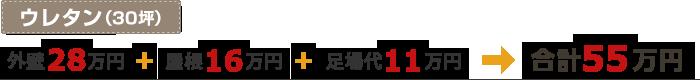 ウレタン(30坪)「外壁28万円」+「屋根16万円」+「足場代11万円」=合計55万円