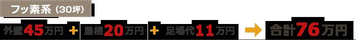 フッ素系(30坪)「外壁45万円」+「屋根20万円」+「足場代11万円」=合計76万円